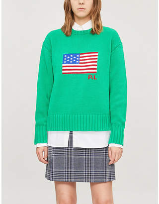 Polo Ralph Lauren Flag-embroidered long-sleeved cotton-knit jumper
