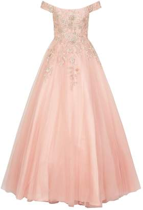 Jovani Embroidered Off-The-Shoulder Tulle Gown