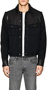 Ralph Lauren Purple Label MEN'S CLYDE DENIM & LEATHER TRUCKER JACKET - BLACK SIZE L