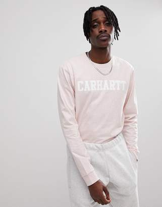Carhartt WIP Long Sleeve College T-Shirt In Pink