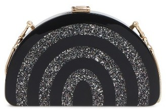 Milly Stripe Half Moon Box Clutch - Black $295 thestylecure.com