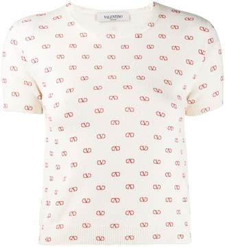 Valentino V logo print top