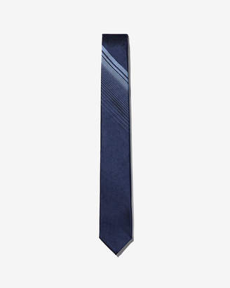 Express Reversible Slim Stripe Panel Silk Tie
