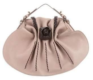 Salvatore Ferragamo Floral Accented Leather Flap Bag