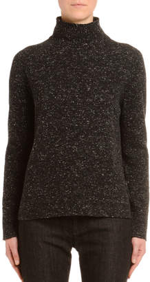 Agnona Melange Cashmere-Tweed Turtleneck Sweater, Black/White