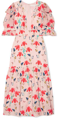 Dahlia Borgo De Nor Printed Crepe De Chine Midi Dress - Pink