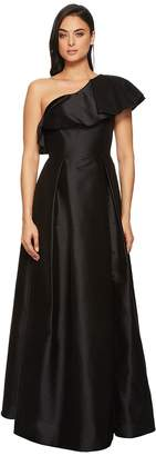Adrianna Papell One Ruffle Shoudler Faille Long Gown Women's Dress