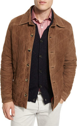 Isaia Quilted Suede Shirt Jacket, Tan $2,695 thestylecure.com