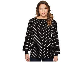 Vince Camuto Specialty Size Petite Long Sleeve Chevron Intarsia Sweater Women's Sweater