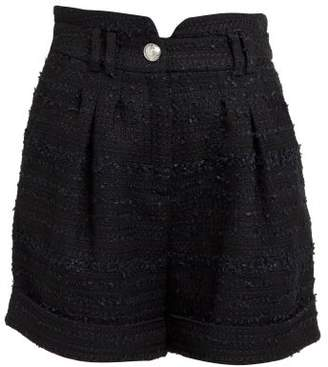 Balmain High Rise Tweed Shorts - Womens - Black