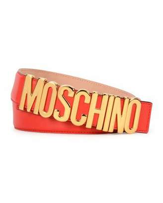 Moschino Large Logo Adjustable Leather Belt, Red/Gold