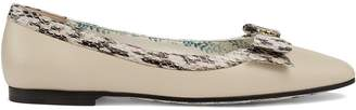 Gucci Leather ballet flats with snakeskin bow