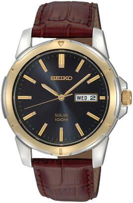 Seiko Mens Brown Leather Strap Solar Watch SNE102