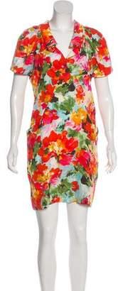 Balenciaga Watercolor Floral Print Mini Dress