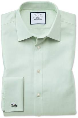 Charles Tyrwhitt Extra Slim Fit Non-Iron Step Weave Green Cotton Dress Shirt Single Cuff Size 15/33