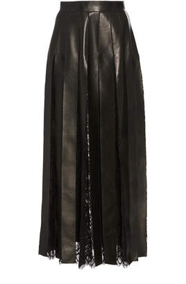 Elie Saab Lace And Leather Fringe Skirt