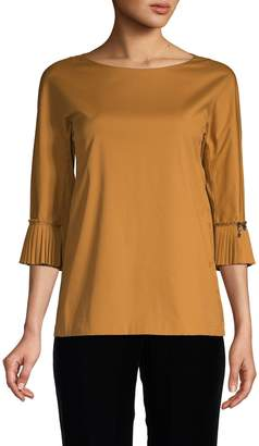 Max Mara Bell-Sleeve Cotton-Blend Top