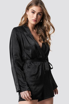 443580d92a NA-KD Hannalicious X Deep V-neck Satin Playsuit Black