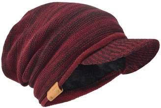 e34e822a02a HISSHE Vintage Slouch Visor Beanie Soft Warm Fleece Lined Knit Winter Hat  for Men