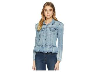 Blank NYC Denim Jacket with Ruffle Detail in Situationship