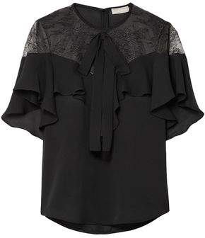 Elie Saab Lace And Ruffled Silk-Blend Crepe Blouse