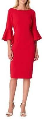 Tahari Arthur S. Levine Petite Petite Bell-Sleeve Crepe Sheath Dress