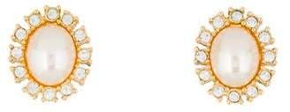 Christian Dior Faux Pearl & Crystal Earrings