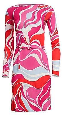 Emilio Pucci Women's Marilyn Print Jersey Belted Dress