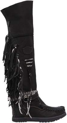 EL VAQUERO 70mm Delilah Fringed Leather Wedge Boots