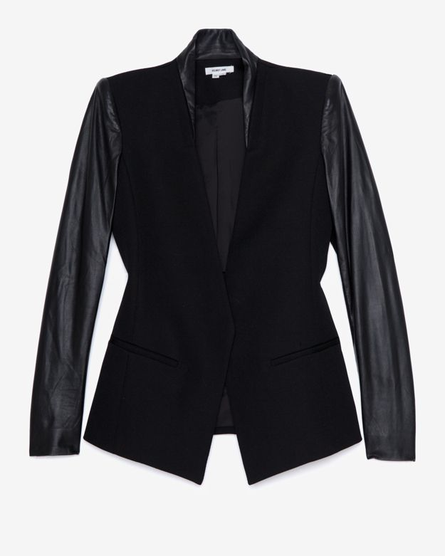 Helmut Lang Crux Leather Sleeve Blazer 2