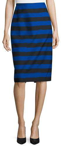 Michael Kors Striped Slim Pencil Skirt, Black/Blue