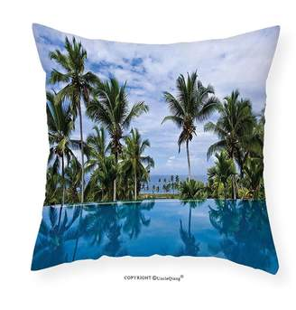 Pool' UncleQiang Custom pillowcases House Decor Infinity Pool with Palm Tree Reflections and Crystal Water in Tropical Resort Photo Bedroom Living Room Dorm Decor Blue Green White