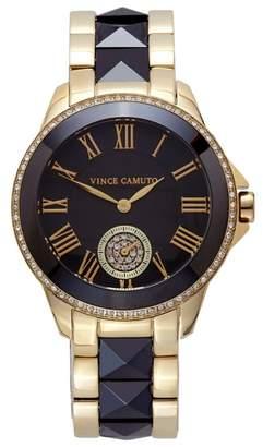 Vince Camuto Black & Goldtone Pyramid-stud Link Watch