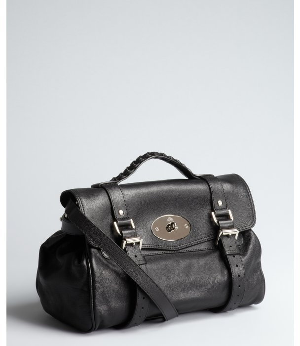 Mulberry black leather 'Alexa' convertible satchel