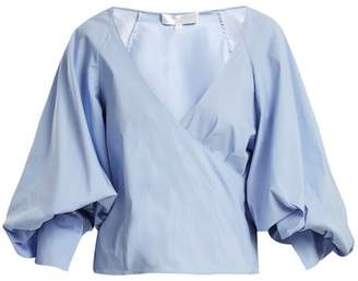 Caroline Constas - Josie V Neck Puff Sleeved Stretch Cotton Top - Womens - Blue