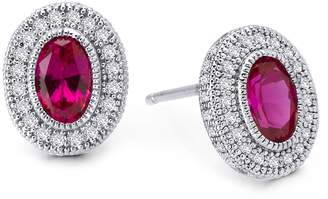 Lafonn Platinum Over Sterling Silver Micro Pave White 7 Lab-Grown Red Sapphire Bezeled Accents Studs