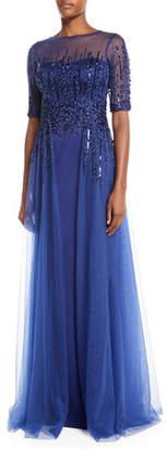 Rickie Freeman For Teri Jon Embellished Satin Illusion Trumpet Gown