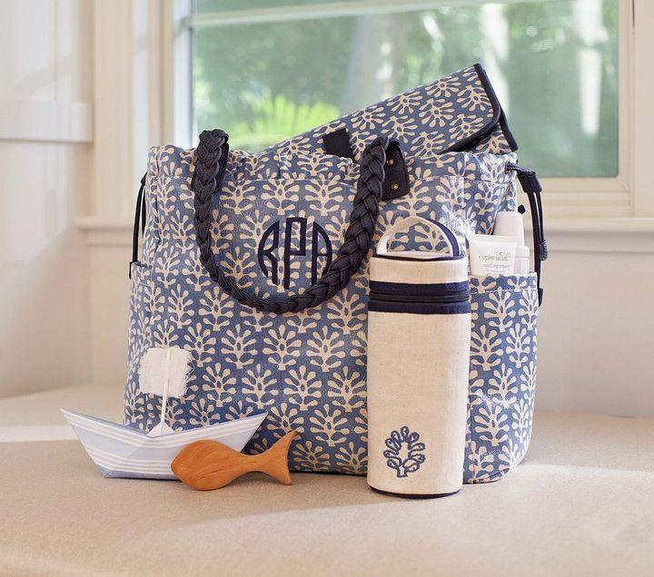 Pottery Barn Kids Blue Leaf Larkspur Diaper Bag & Bottle Bag