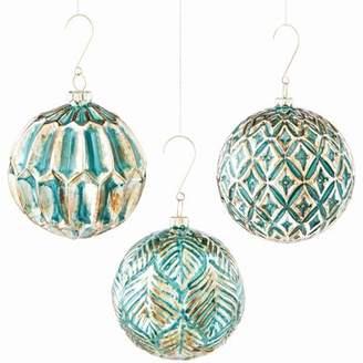 Bungalow Rose Kells 3 Piece Glass Ornate Shaped Ornament Set (Set of 2)