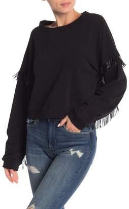Blank NYC BLANKNYC Denim Beaded Fringe Sleeve Sweatshirt
