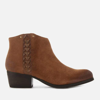 Clarks Women's Maypearl Fawn Suede Heeled Ankle Boots