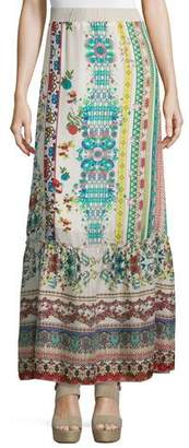 Johnny Was Nova Printed Silk Tiered Maxi Skirt $265 thestylecure.com