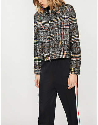 Free People Checked woven Eisenhower jacket