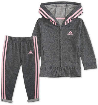 adidas Baby Girls 2-Pc. Sparkle Hooded Jacket & Pants Set
