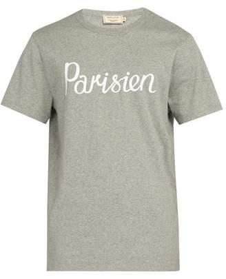 MAISON KITSUNÉ Parisien Crew Neck Cotton T Shirt - Mens - Grey