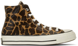Converse Brown and Beige Giraffe Pony Hair Chuck 70 High Sneakers