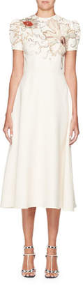 Valentino High-Neck Short-Sleeve Crepe Dress w/ Embroidery