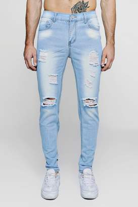 boohoo Slim Fit Distressed Jeans With Paint Splatter