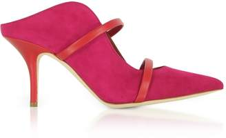 Malone Souliers By Roy Luwolt Maureen Red Suede And Cherry Nappa High Heel Mules