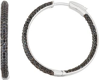 Sterling Silver Black Spinel Hoop Earrings
